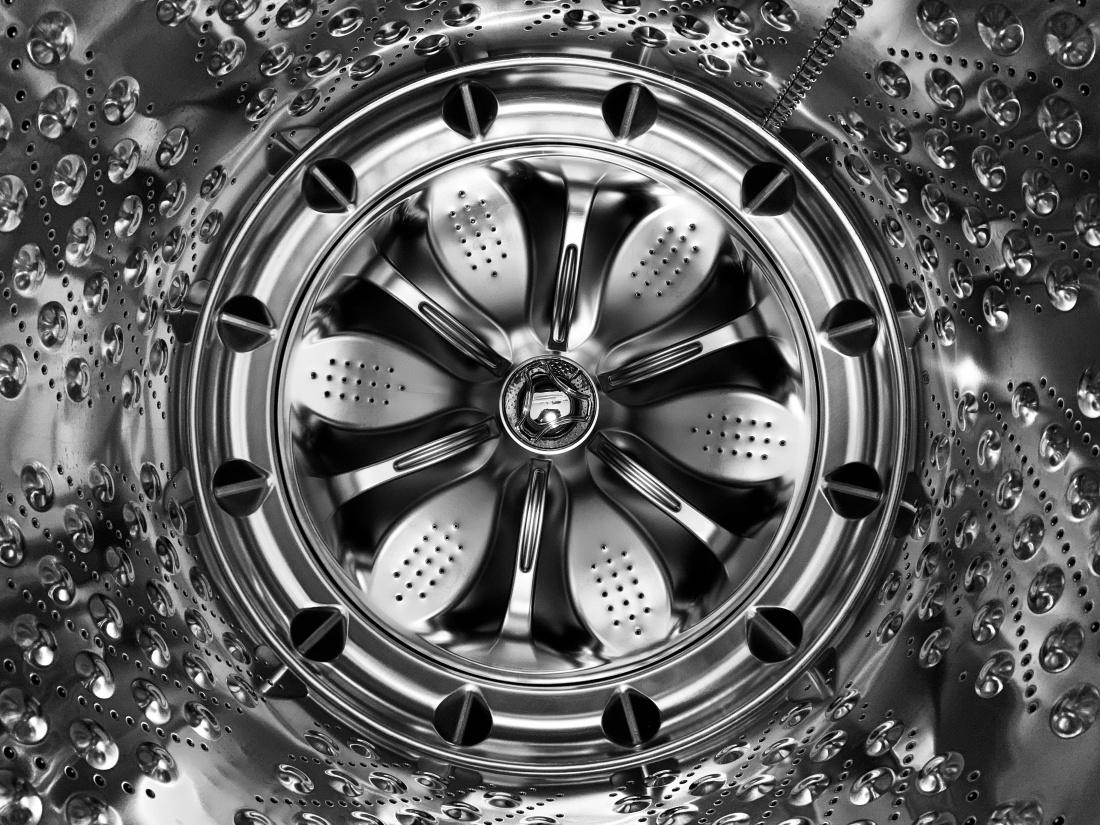 Inside of a washing machine.