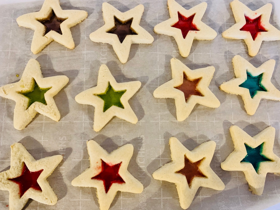 Star shaped Christmas cookies with colorful glass like center